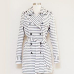 Banana Republic Ivory & Gray Striped Trench Coat M